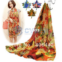 Wholesale Fashion Of The Four Seasons Printed Pure Silk Chiffon Big Scarf Sunscreen
