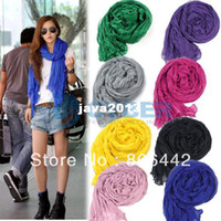 Wholesale Holiday Sale Fashion Women s Long Crinkle Scarf Wraps Soft Shawl Stole Pure Color Colors Hot sales