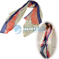 Wholesale New Fashion Ancient Totem Pattern Long Soft Wrap Lady Shawl Silk Chiffon Scarf