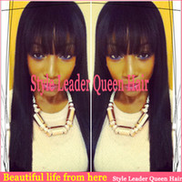 Cheap Free shipping cheap lace front brazilian straight virgin hair natural balck color 10-24inch full lace human hair wigs with bangs