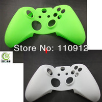 Cheap Free shipping,2pcs lot ,1pcs Green + 1pcs White Silicone Protective Case Cover for Microsoft XBOX ONE Controller Joystick