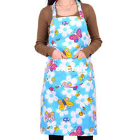 Wholesale blue flower bee printed apron blue