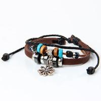 Wholesale diy hand band for women flower charms leather bracelet adjustable new bracelet