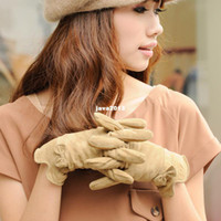 Wholesale Thantrue bow autumn and winter women s sheepskin gloves wool liner thermal genuine leather gloves