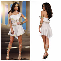 Cheap sexy White Oblique Shoulder Party Evening Dress For Women,Greek Goddess Halloween Costume,Free Shipping
