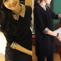 Wholesale 2014 spring new arrival fashion long sleeve gold paillette peter pan collar slim basic one piece dress