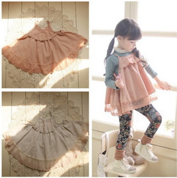 Wholesale Phelfish kids girls spring summer tank tops baby girl fashion cotton lace singlet princess pink beige tulle jumper
