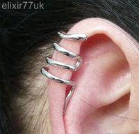 Wholesale NEW SILVER SNAKE CARTILAGE UPPER HELIX EAR CUFF CLIP ON WRAP EMO PUNK EARRING