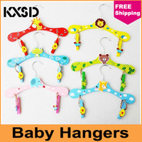 Wholesale New Hot Novelty Cartoon Animal Children Hanger Baby Clothes Colorful Pants Wooden Hangers Freeshipping