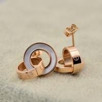 Wholesale New arrival two color black white shell screw design k rose gold double love ring earrings pairs free drop shipping