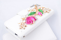 Best Handmade Eegance leather rose crystal Case for iPhone 5S 5G 5 with crystal smartphone Cover Luxury Book with Card Holder for girl