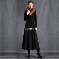 Cheap Wholesale - coats 2013 women's raccoon single breasted black cashmere long overcoat slim design qfa-9 c