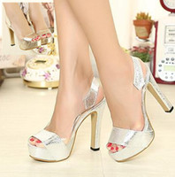 Cheap 2014 New Silver Gold Sling Back Wedding Bridemaid Shoes 2 Colors Open Toe Platform Prom Dress Shoes Size EU 34 to 39 ePacket Free Shipping