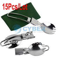Wholesale 15Pcs Cookout Hiking Picnic Outdoor Tableware Foldable Dual Purpose Traveling Camping Stainless Steel Spoon Fork