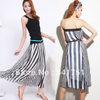 Cheap Ladies Striped Chiffon Elastic Waist Beach Maxi Full Long Skirts Bohemian summer skirt 2014 Free&Drop Shipping