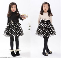 Wholesale 2014 Spring New Arrival Children s Princess Dress Long Sleeve Wave Point Girl Party Dress Baby Kids Dresses Year Child Wear QZ572
