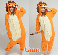 Cheap sexy Fashion Adult Kigurumi Lion Pajamas Unisex Fleece Onesie Animal Cosplay Party Costume Fancy Dress