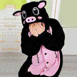 Wholesale sexy New Kigurumi Pajamas Anime Cosplay Costume unisex Adult Onesie Black Pig Fancy Dress