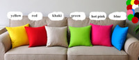 Wholesale New Candy Colors High Quality Pillow Cases Pure colors Canvas Pillow Covers