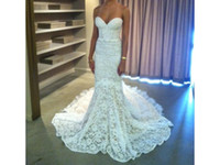 Wholesale Charming Graceful Inbal Dror Lace Mermaid Straps Sweetheart Neckline Backless Chapel Train Wedding Dresses
