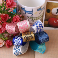 Wholesale DIY hair accessories material Yao Ribbon mm polyester printed with classic blue and white ribbon meter price