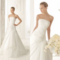 Wholesale Elegant A line Bridal Strapless Draped Applique Beads Gown Sweep Train Chinese Organza Wedding Dress DL1304124