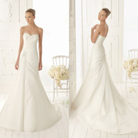 Wholesale Simple A line Bridal Strapless Draped Applique Gown Sweep Train Chinese Organza Wedding Dress DL1304125