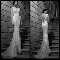 Wholesale Princess Hot Bateau Neck Sheer Long Sleeves Berta Bridal Dress Beaded Lace Mermaid Sweep Train Backless Wedding Dresses Gowns