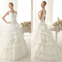 Wholesale Elegant A Line Bridal Layered Double V Neck Sleeveless Beading Organza Gown Sweep Train Chinese Wedding Dress DL1304136