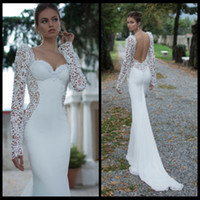 Trumpet/Mermaid Model Pictures Sweetheart Ivory Lace Illusion Long Sleeve Open Back Mermaid Berta Winter 2014 Wedding Dresses Sweetheart Court Train Satin Wedding Bridal Gowns