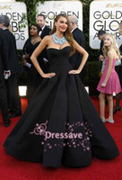 Wholesale 2014 th Golden Globe Red Carpet Celebrity Dresses Sofia Vergara A Line Strapless Sweetheart Black Satin Ruffles Evening Gowns BO4175