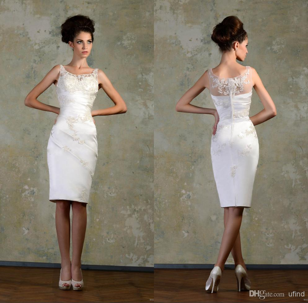 Hot Lace White Little Wedding Party Dresses Knee Length Sheer ...