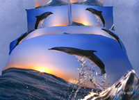Adult Jacquard 100% Cotton Dolphin pattern 100%Cotton 3D 4 pcs bedding set bedclothes sets bedding article bed necessaries sheet quilt cover duvet cover pillowcase