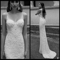 Trumpet/Mermaid Model Pictures Spaghetti Elegant Mermaid Lace Wedding Dresses Backless Berta Winter 2014 Spaghetti Strap Pearls Sleeveless Sweep Train Wedding Bridal Dresses Gowns