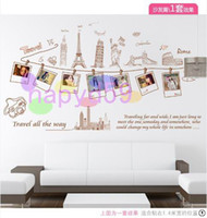 PVC architecture photos - removable global travel workld famous buildings art European architecture photo frame wall stickers bedroom living room TV wall sticker