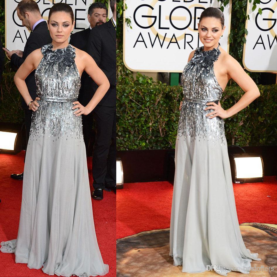2014 71st golden globe evening celebrity red carpet dresses mila kunis wears a silver sequins - Silver red carpet dresses ...