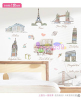 Wholesale removable Eiffel Tower Statue of Liberty workld famous buildings art European architecture photo frame wall stickers bedroom wall sticker