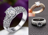 Wholesale Wedding Rings for women jewelry Swarovski Crystal K gold plated ring CZ diamond rings silver Color