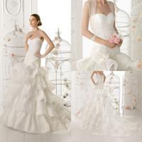 Wholesale Elegant Bridal Strapless Sash Gown Sweep Train Chinese Lace Satin Trumpet Wedding Dress With Bolero DL1300463