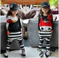 Wholesale Spring Cute Kids Cartoon Stripe Romper Children Girls Cat Bow Striped Overall Suspender Thouser Fashion Jumpsuit Girl