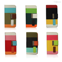 For Apple iPhone Leather For Christmas Multi-Color Rainbow Hybrid PU Leather Flip Cover Stand Holder Case for Apple iPhone 5 5S Folio Credit Card Slot Wallet Magnetic free 100pcs