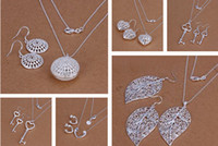 Wholesale New Arrival Mixed Fashion women s Jewelry Set Silver Necklace amp Earrings Hot Sale set