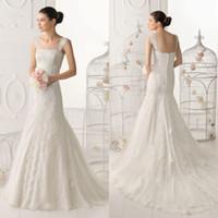 Wholesale Elegant Bridal Sleeveless Square Neck Gown Sweep Train Chinese Lace Wedding Dress DL1304097