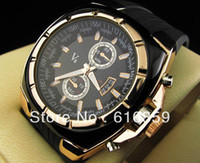 Wholesale Hot Sale Vogue V6 Strips Hour Marks Round Dial Golden Case Quartz Hours Analog Rubber fashion Men Watch