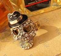 Wholesale CRYSTAL SKULL black hat BIKER RING vintage brass RETRO rhinestone GOTH PUNK ROCK