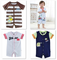 Wholesale Casual Baby Boys Clothes Baby Rompers Short Sleeve Bodysuits Pajamas Romper Cotton Shortalls Overalls HOT SALE W11