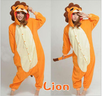 Cheap Sunlun Free Shipping Cute Lion onesie Lovers Pajama Coral Fleece Thickening Sleepwear,adult animal onesie,