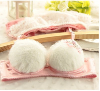 Bra Sets Cotton Embroidered Fleece cup noodles on the lovely girls underwear small chest gather thin sweet Bra Set 100