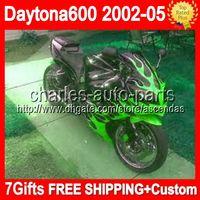 triumph - 7gifts For Triumph Daytona Daytona600 Body Q249 Green flames Triumph600 Fairing HOT black green