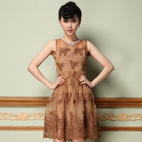 Wholesale 2014 New Spring Dresses Fashion Women Spring Pierced work Design Embroidery Elegance Sleeveless Dresses Printed Dresses Knee Dresses